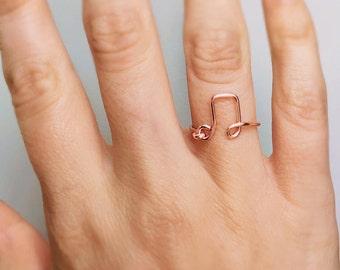 Rose Gold Music Note Ring, Music ring, Rose gold ring, Music note ring, Music wire ring, Note ring, Gold music ring, Music lover gift, Song