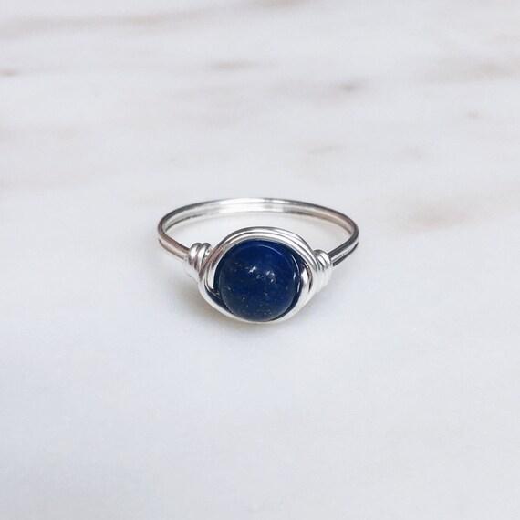 Lapis Lazuli Ring Draht umwickelt Ring blauer Stein-Ring | Etsy