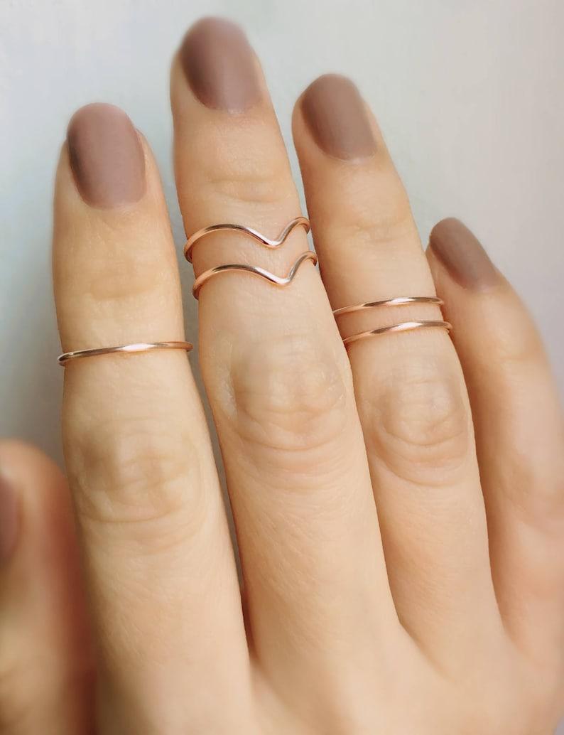 2fdd30760e016 Rose Gold Midi rings, 5 Knuckle rings, Chevron Rings, Stacking rings, Rose  gold ring, Midi rings, Knuckle ring set, Stackable rings, Gold