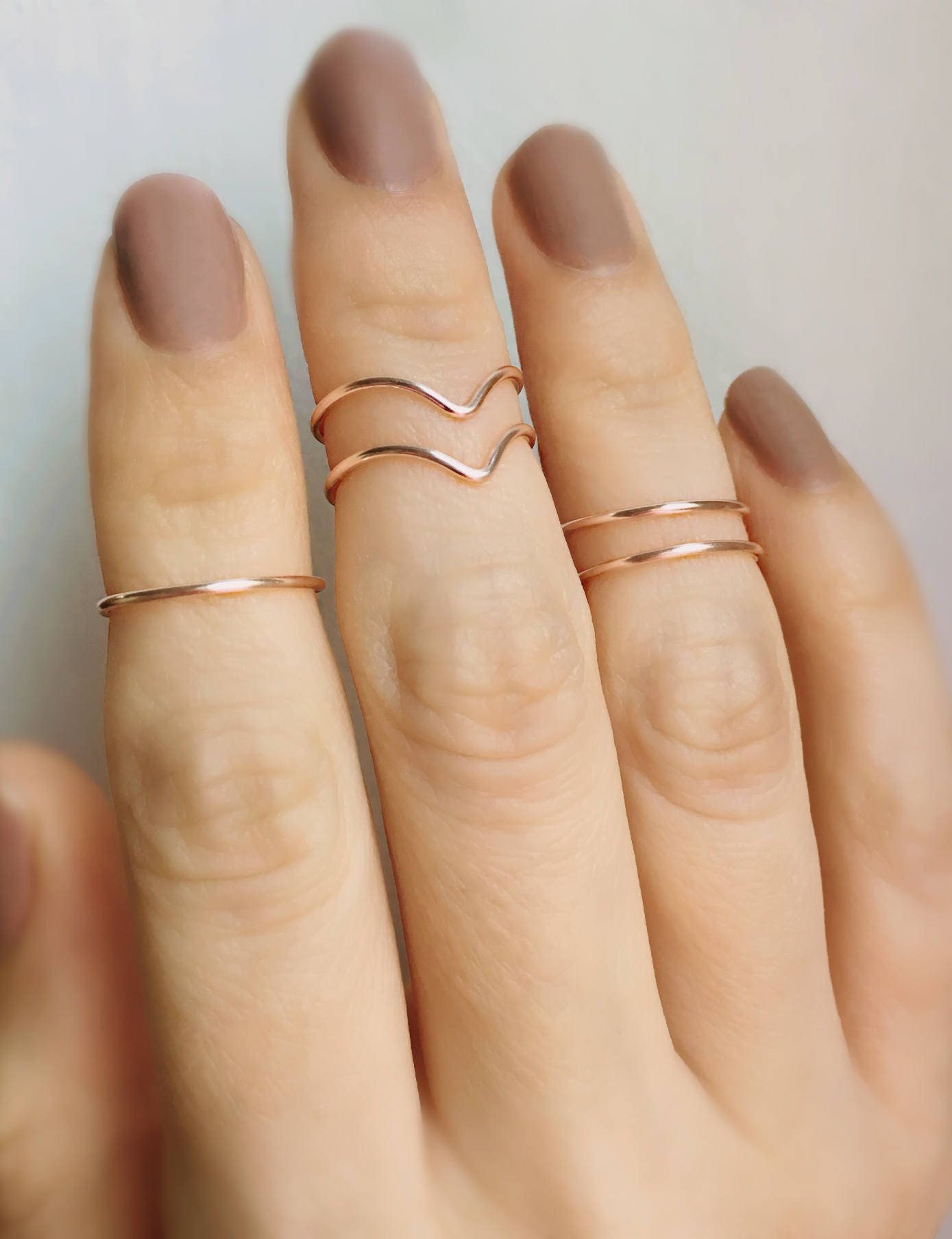 4733cb3ae4 Rose Gold Midi rings 5 Knuckle rings Chevron Rings Stacking | Etsy