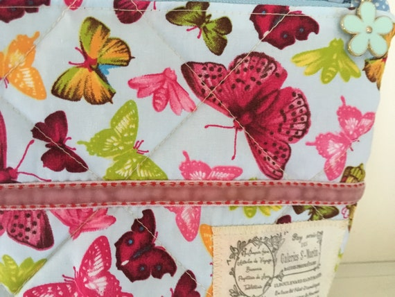 Lined /& quilted project bag envelope style storagetravel pouch 100/% Cotton