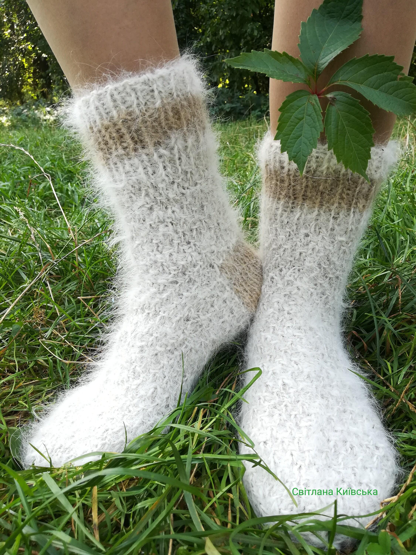 Alaby + dogcombed dogcombed dogcombed de moutons de race blanche fourrure fait chaussettes tricotées à la main 3fbc03