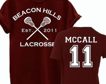 1296e5126 McCall 11 Teen Wolf Beacon Hills Inspired Lacrosse Adult Fashion T-Shirt