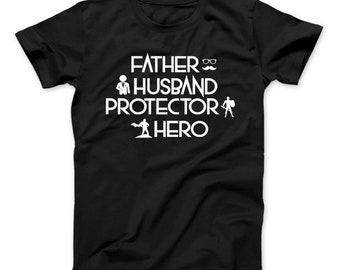 2460eb47 Father Husband Protector Hero T-Shirt Father's Day, Dad Shirt, Dad Gift,  Father's Day Gift, Gift For Husband, Father, Husband, Hero