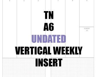 tn a5 undated insert mo2p vertical wo2p w graph paper habit etsy