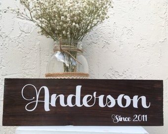 Last name sign wood with first names Family established sign wood wedding gift  personalized last name banner wedding established sign