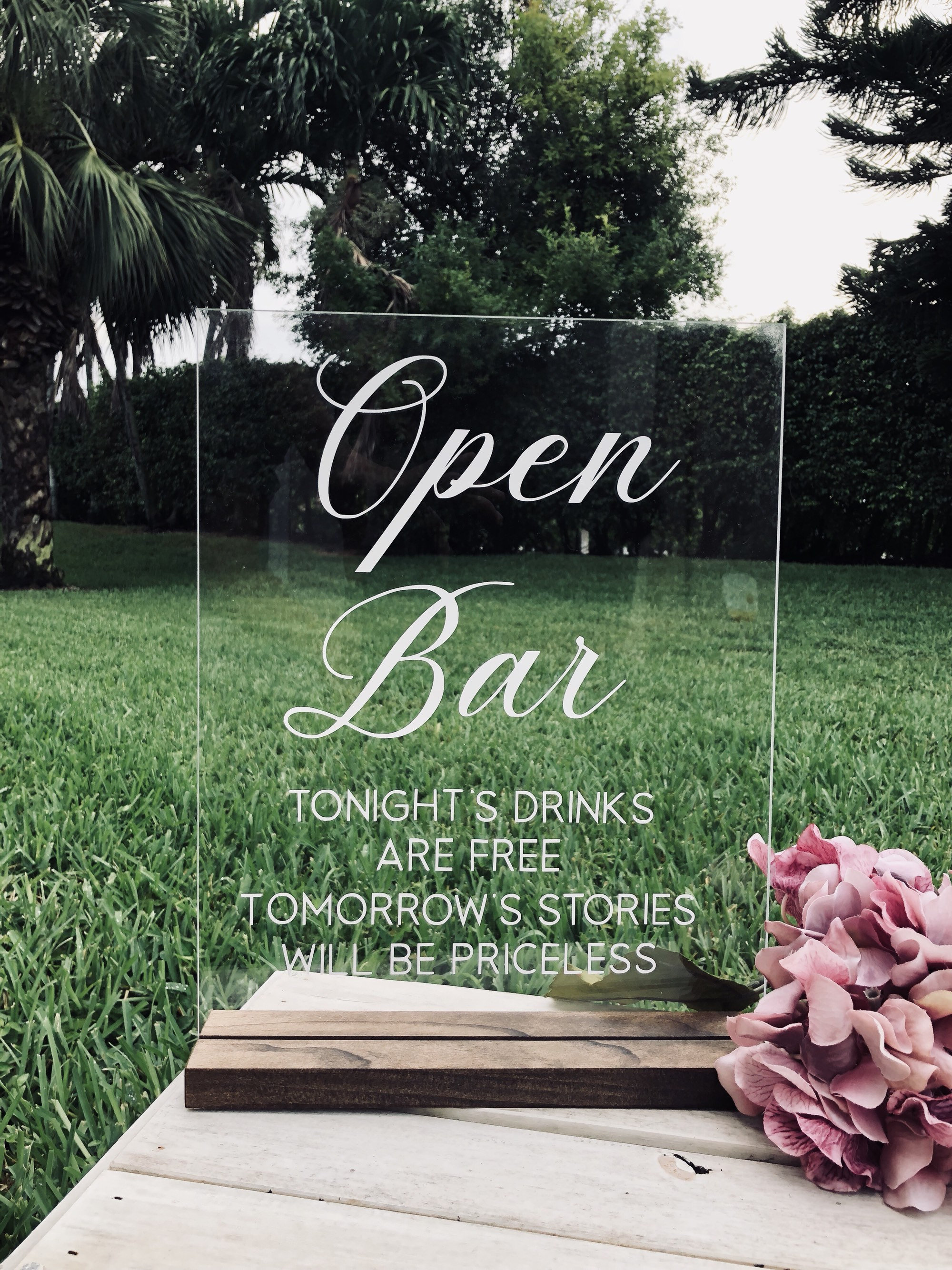 Open Bar Acrylic Signs And Stands Cards And Gifts Sign Glass Etsy