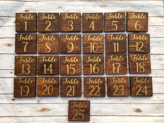 Gold Wooden Table Numbers Wedding Reception Ideas Rustic Etsy