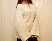 Ivory Hand Knit Sweater For Women, Wide Sleeve Oversized Slouchy Wool Sweater, Loose Knitted Sweater, Fluffy Sweater with Bell Sleeves