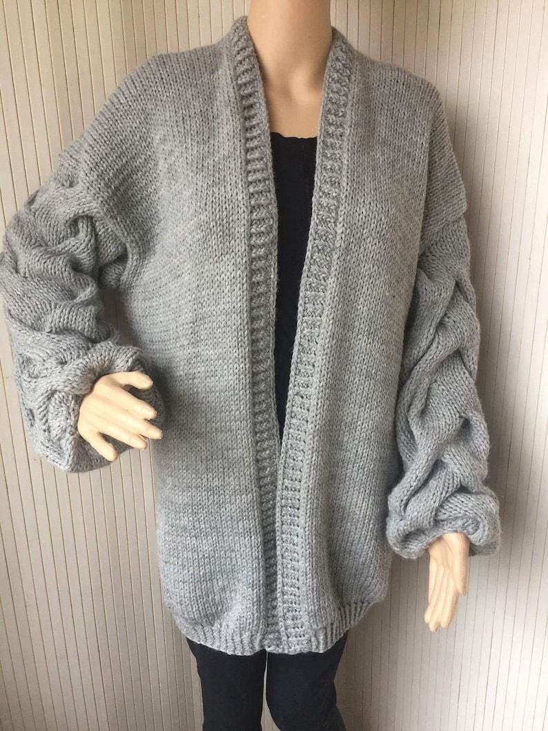 bb9ac5ce6b Grey Chunky Knit Cardigan Cable Knit Cardigan Long Puffy