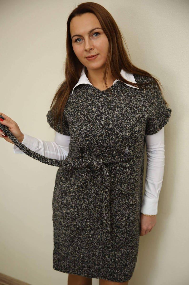 24e6638111 Sleeveless Knitted Dress Hand Knit Dress Tunic Wool Dress | Etsy