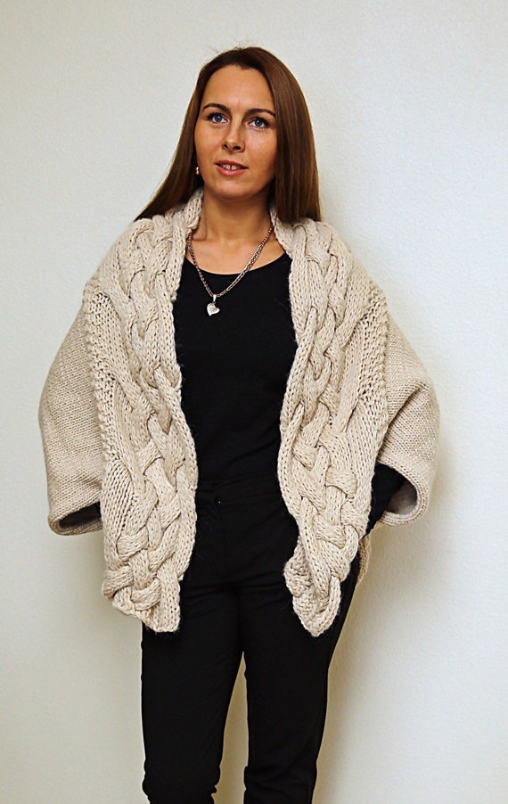 Hand Knit Loose Cream Cardigan Cable Knit Cardigan Oversize Etsy