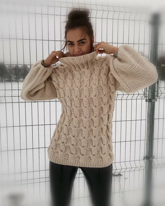 Women/'s Knitted Pullover Cable Knit Turtleneck Sweater Loose Knit Soft Sweater Oversized Wool Sweater Chunky Cable Knit Pullover