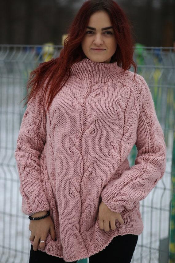A mano a maglia maglione per le donne sciolto maglione  a1410556b64