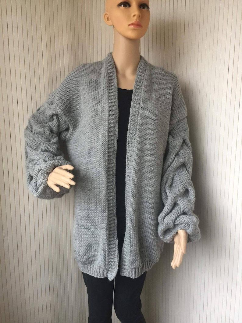 f9add4c27f Grey Chunky Knit Cardigan Cable Knit Cardigan Long Puffy