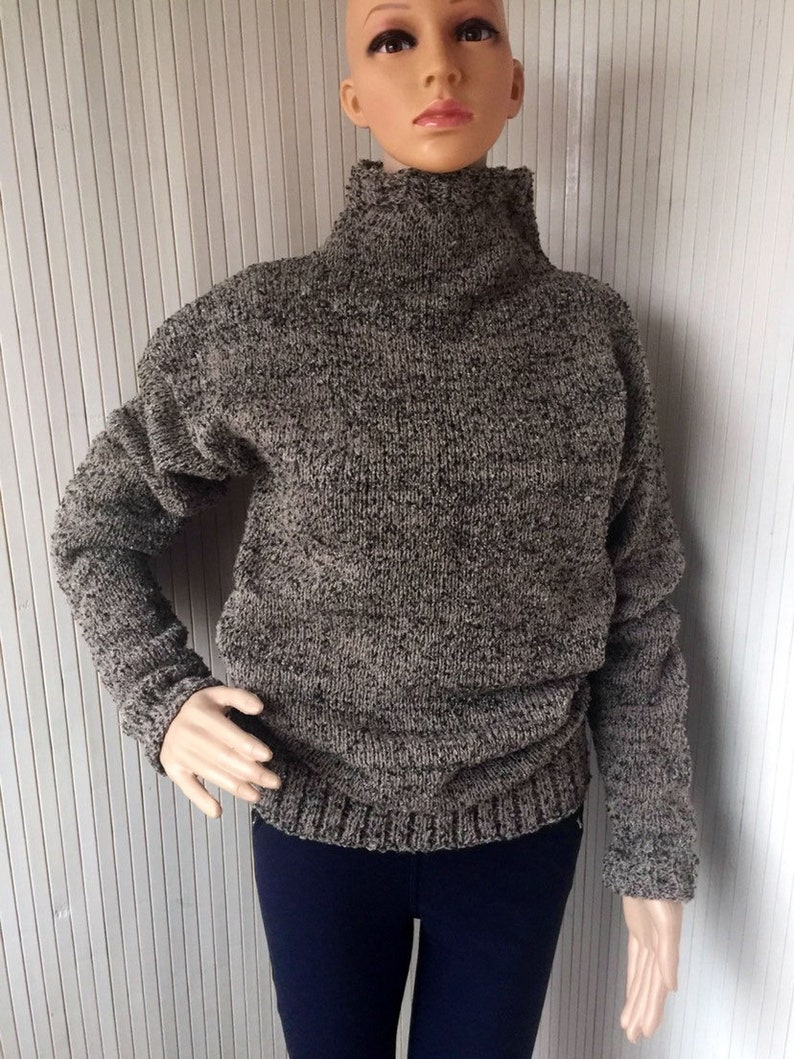 67be6c02116 Turtleneck Hand Knit Brown Boucle Sweater Chunky Knit