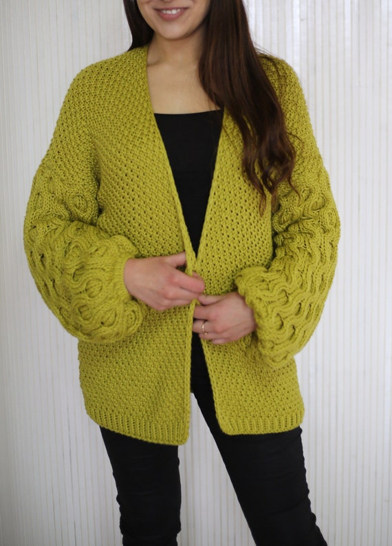 Womens Sleeves Cardigan Sweater Knit Mustard Sweaters Sweater With
