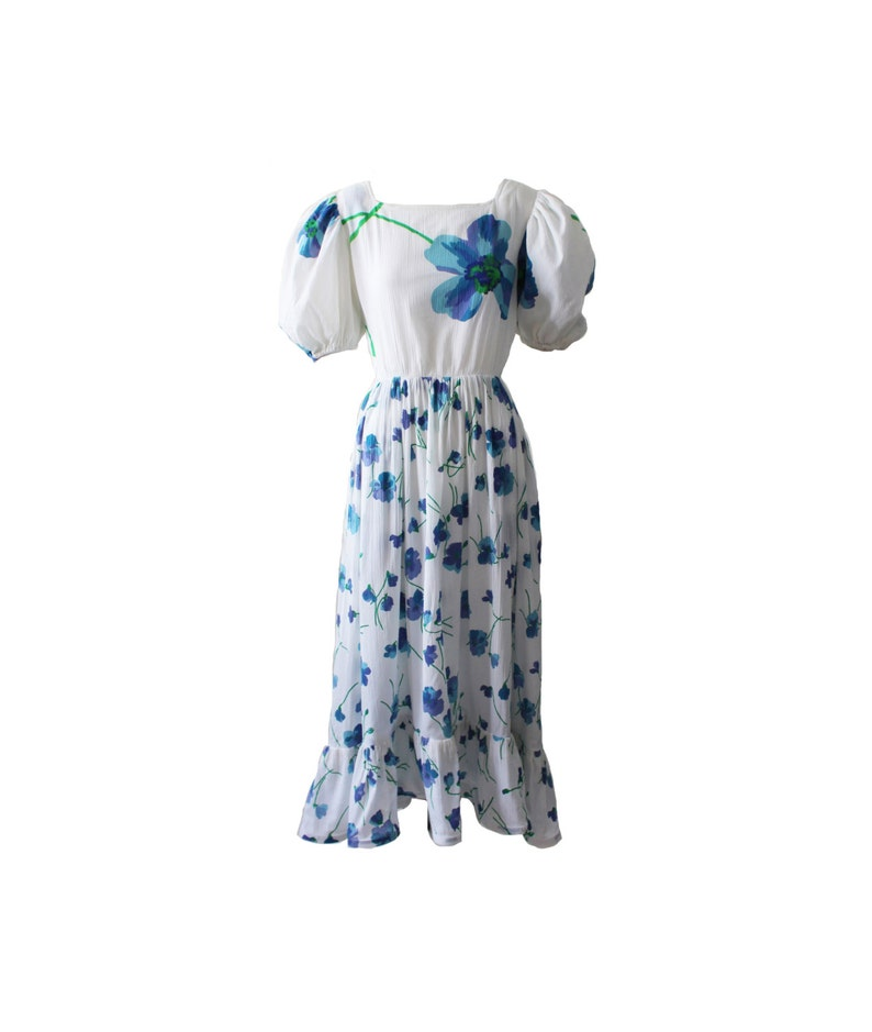 Vintage Balenciaga Blue and White Pansy Floral Day Dress 1980s image 0