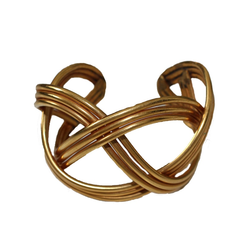Vintage Chanel Attributed Gold Metal Braided Cuff 1970s image 0
