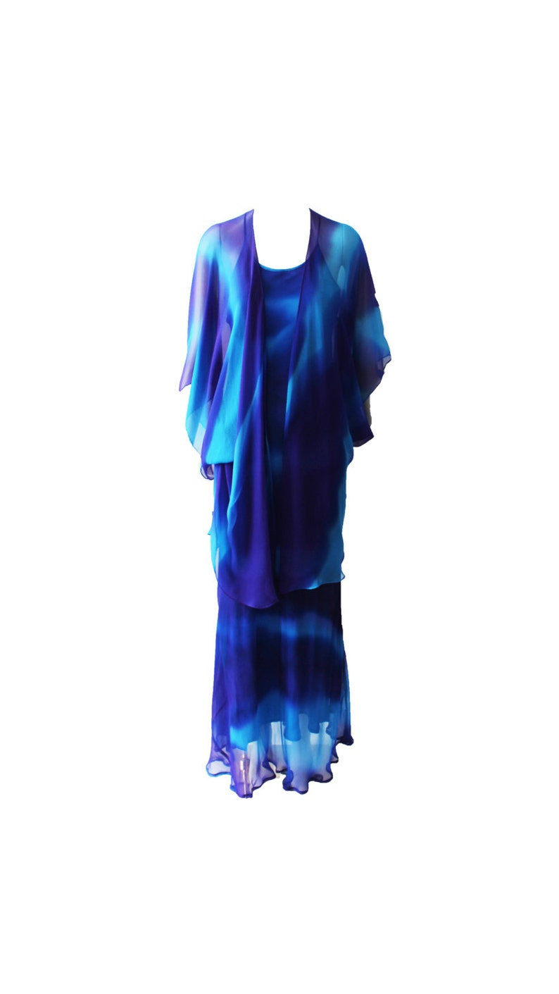 Vintage Tie Dye Bias Cut Silk Gown With Capelet 1970s image 0