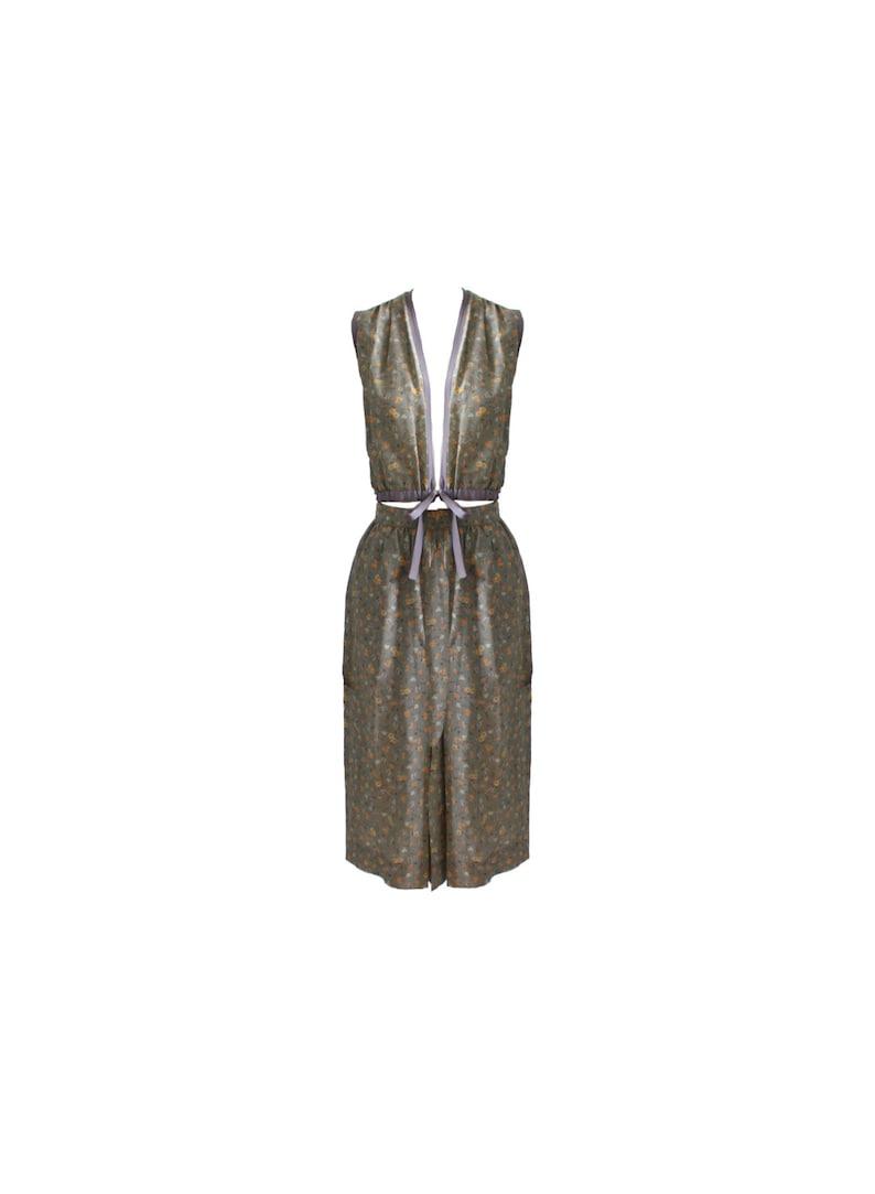 Vintage Adolfo Floral Silk Top and Skirt Set 1960s image 0