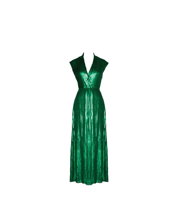 Vintage Halston Emerald Green Collared Sequin Evening Gown | Etsy