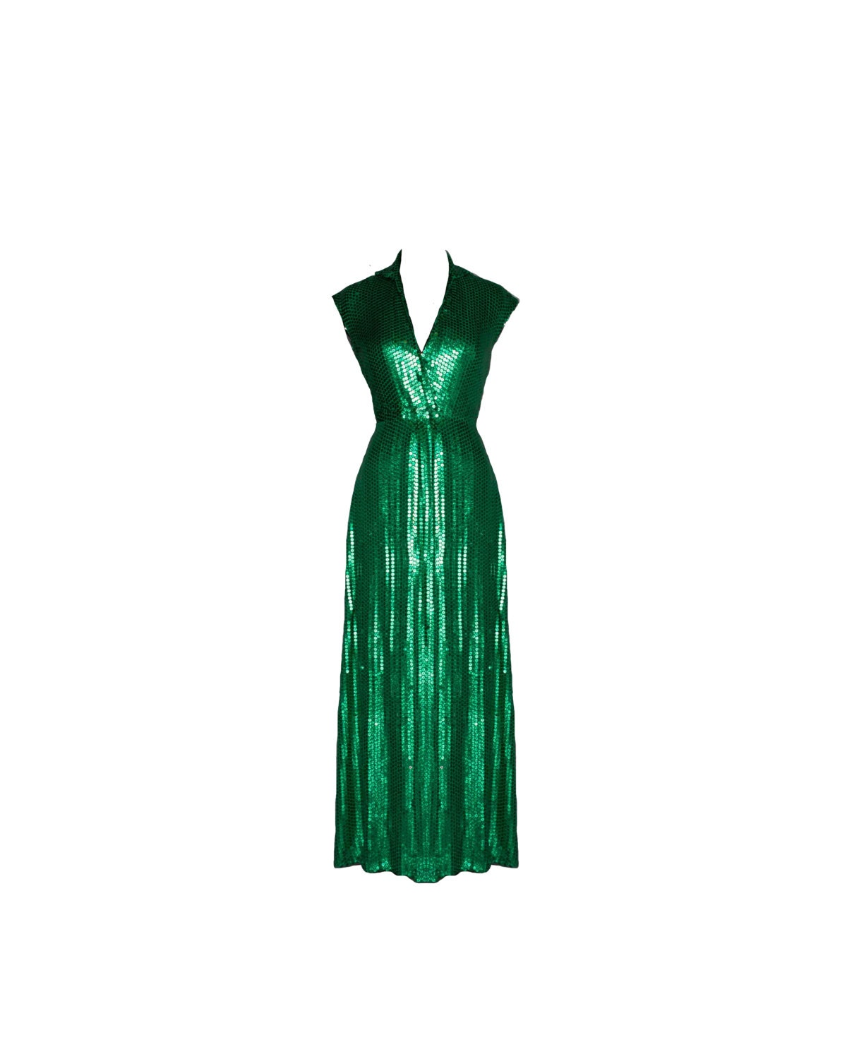 Vintage Halston Emerald Green Collared Sequin Evening Gown   Etsy