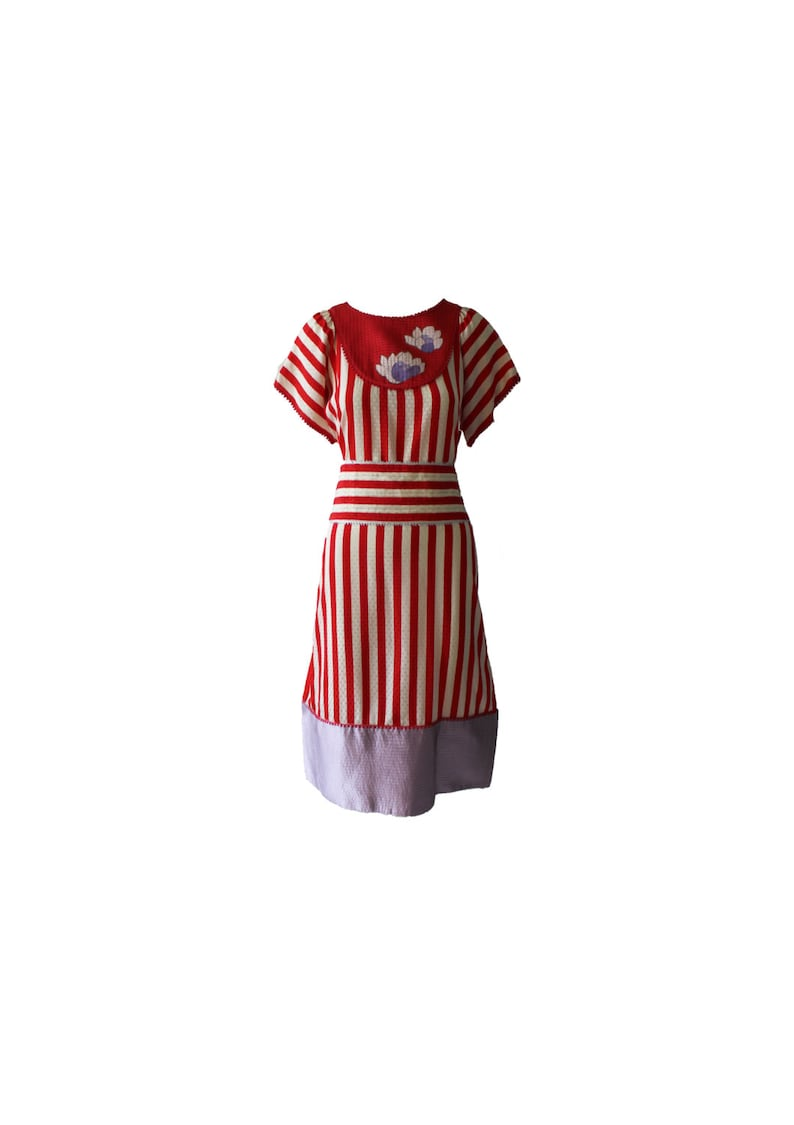 b6d96af1af Vintage Geoffrey Beene Documented Quilted Silk Stripe Dress