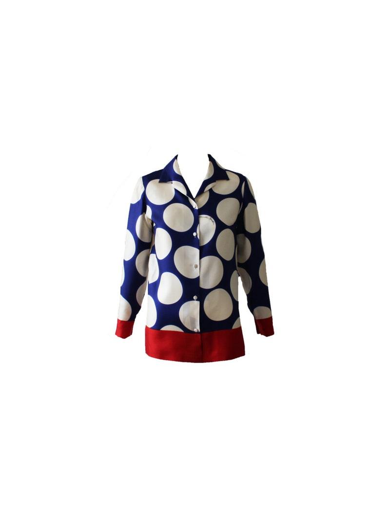 Vintage Donald Brooks Pajama Style Dot Top 1970s image 0