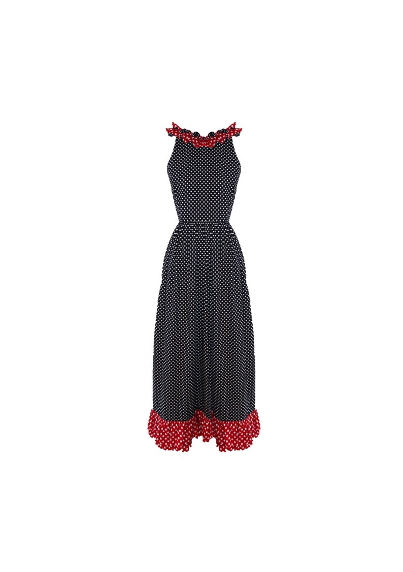 Vintage Donald Brooks Boutique Navy and Red Polka Dot Ruffled image 0