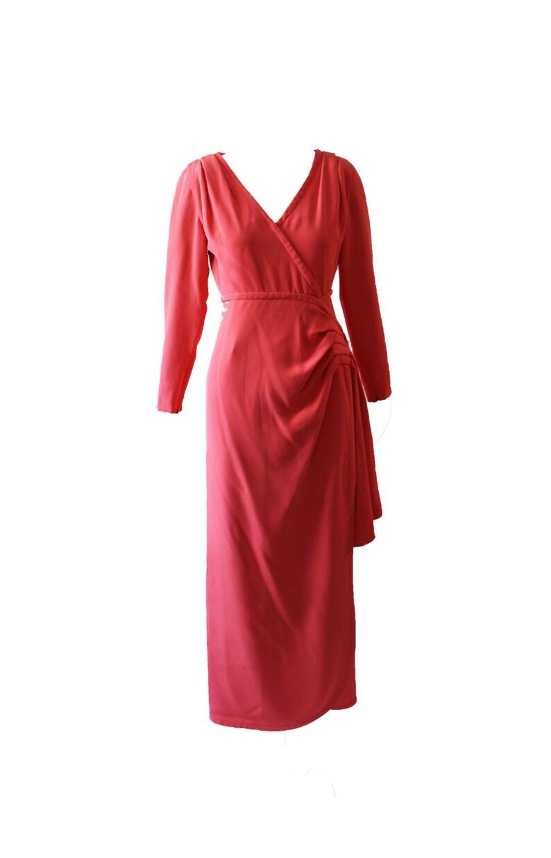 Vintage Jacqueline de Ribes Coral V-Neck Evening Gown 1980s image 0