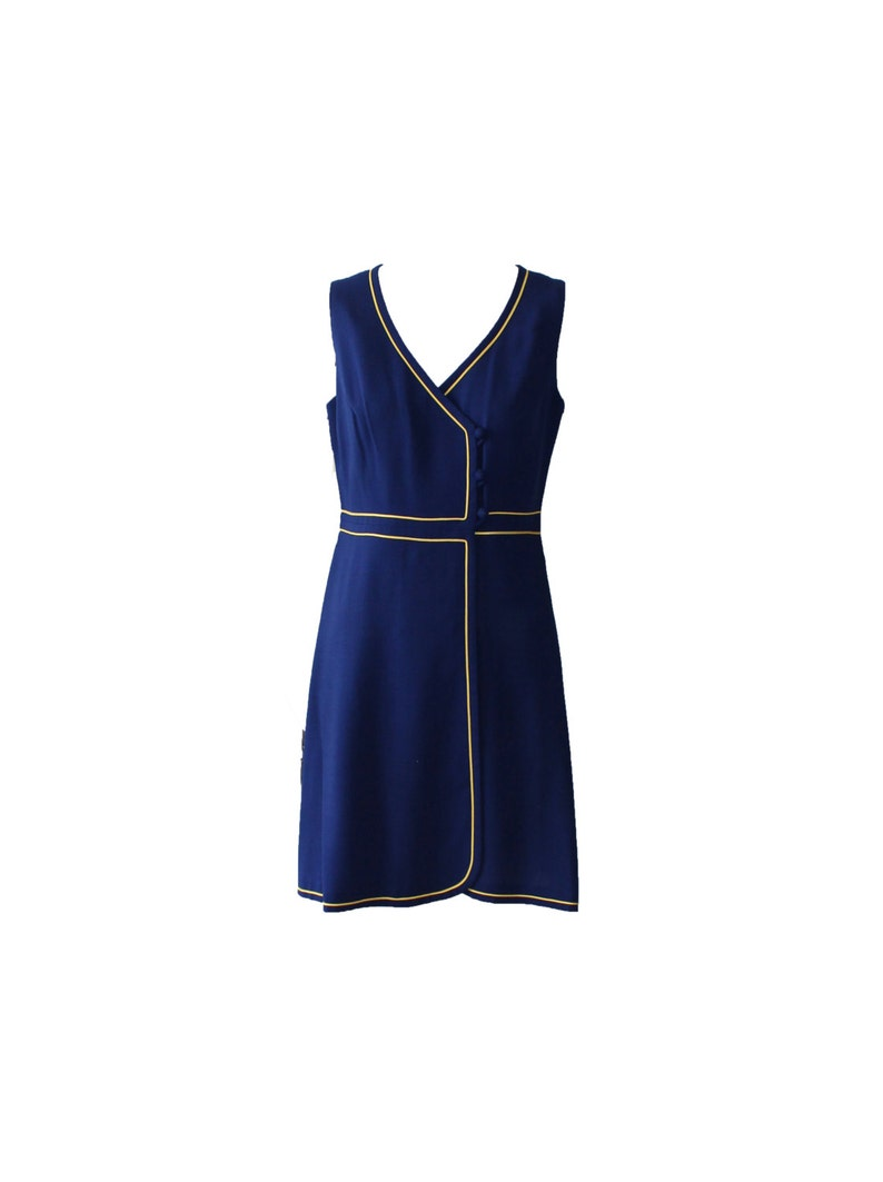 Vintage Berkertex England Navy and Gold Mini Dress 1960s image 0