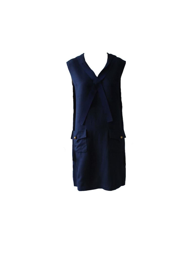 Vinage Jean Patou Navy Sailor Dress 1960s image 0