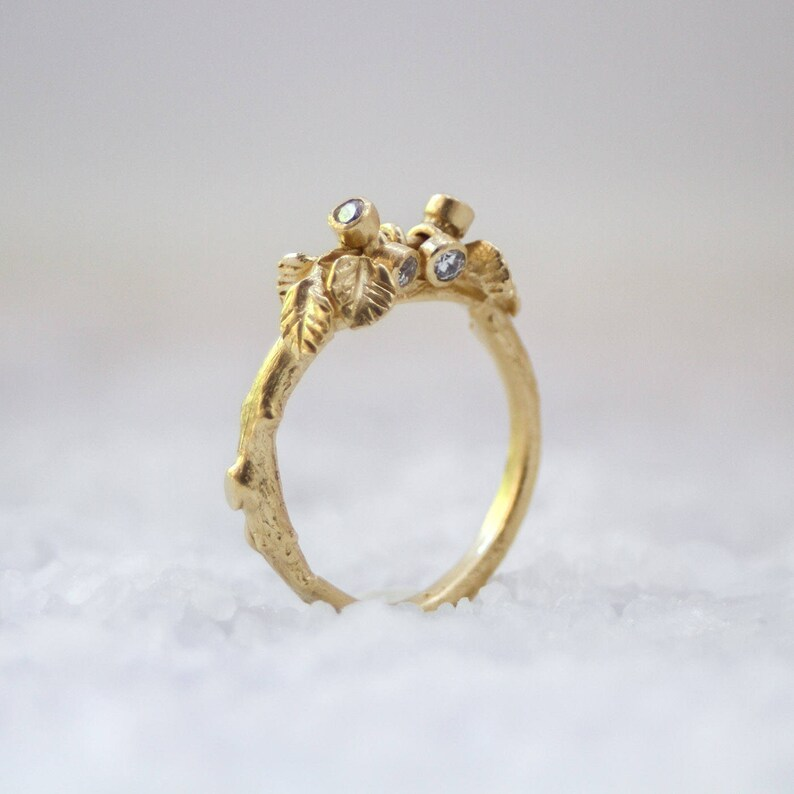 Delicate Ring Woodland Ring Nature Ring Leaf Ring Romantic Ring Solid Gold Ring Twig Ring Branch Ring Diamond Ring Gold Ring