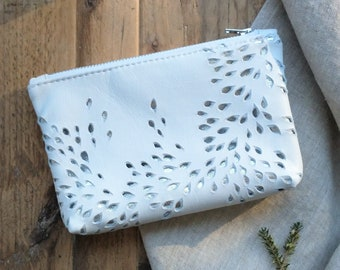 Large White and Silver Leather Pouch, Organic River Inspired Design, Zip Fastening, Box Bottom, Gift, Birthday, Lottie and Jake
