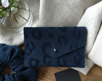Dark Navy Blue Suede Purse, Embossed Leopard Print Design, Sam Browne Stud, One Pocket, Special Gift, Birthday, Lottie and Jake