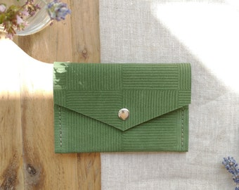 Forest Green Suede Purse, Geometric Square Stripe, Press Stud Fastening, Two Pockets, Lottie and Jake
