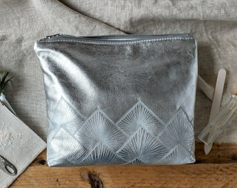 Silver Leather Wash bag with Natural Linen Interior, Sunburst Design, Zip Fastening, Gift, Birthday, SPA Accessory, Lottie and Jake