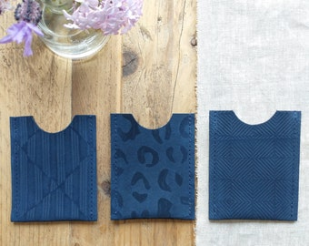 Navy suede card holders 3 embossed patterns to choose from, Special Gift, Lottie and Jake