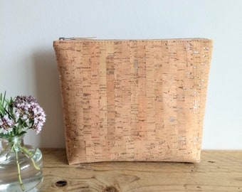 Silver Fleck Cork Wash Bag with Natural Linen Interior, YKK Zip Fastening, Eco, Sustainable, Gift, Birthday, SPA Accessory, Lottie and Jake