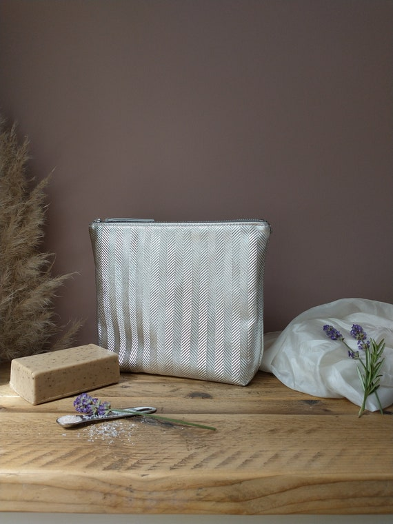 Embossed Herringbone Design, Silver Leather Pouch with Natural Linen Interior, YKK Zip Fastening, Gift, SPA Accessory, Lottie & Jake