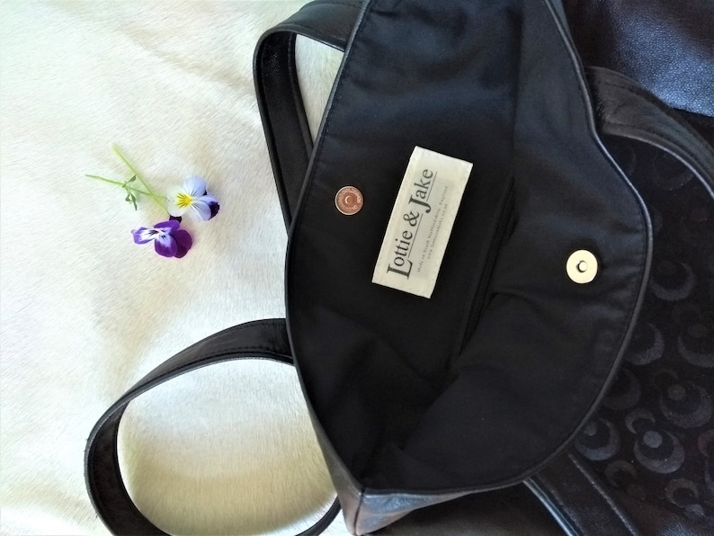 Handmade soft black real leather and suede tote with sun and image 0
