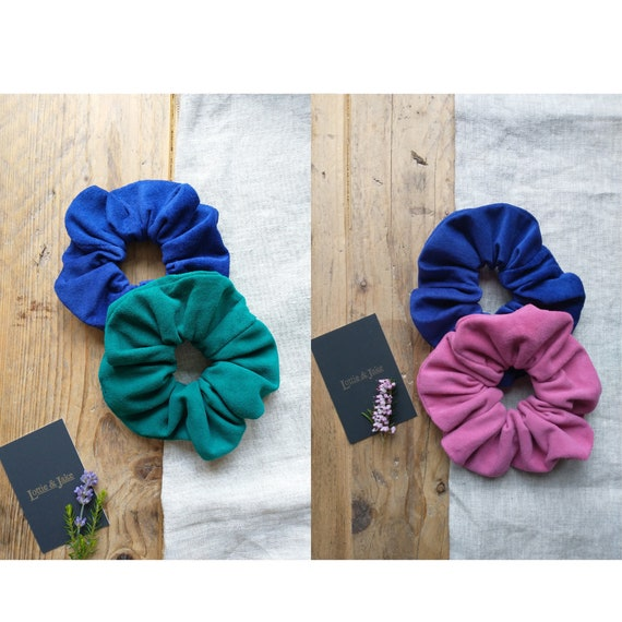 Vibrant Genuine Suede Scrunchies, Hair Accessory, Hair Ties, Bobble, Emerald Green, Bright Pink, Electric Blue, Gift, Lottie and Jake