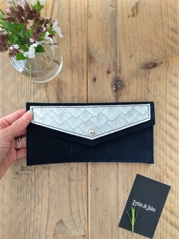 NEW Navy Suede Purse, Silver Leather Panel with Sunburst Design, Press Stud, Three Pockets, Note Pocket, Gift, Birthday, Lottie and Jake