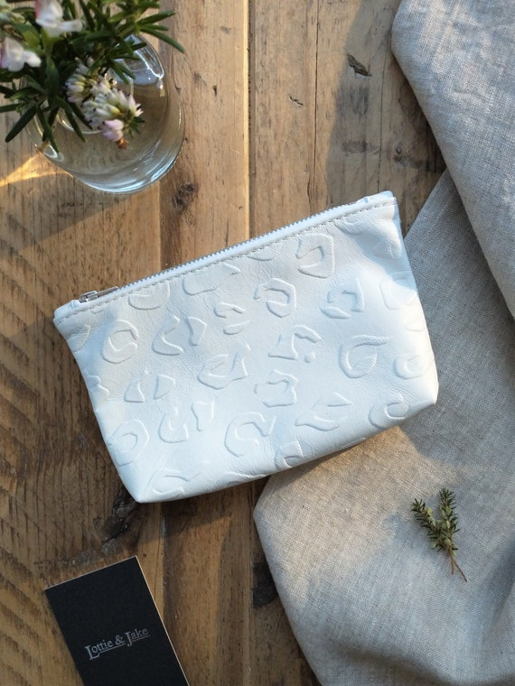 CHOOSE White/Pink Leather Pouch, Embossed Leopard Print Design, Zip Fastening, Boxed Bottom, Gift, Birthday, Lottie and Jake