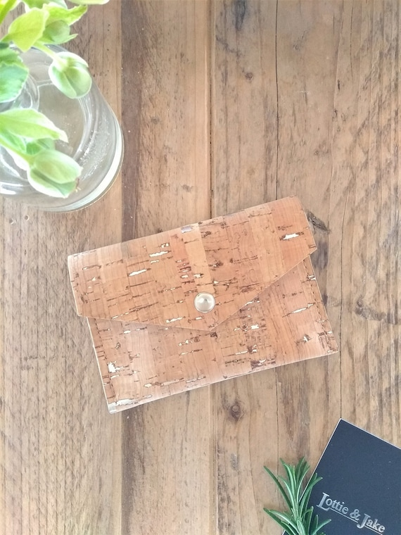 Natural Cork Leather Purse with silver flecks, Choose from Silver Press Stud or Sam Browne Stud, Eco friendly, Sustainable, Gift, Birthday