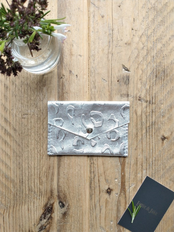 Silver Leather Purse, Embossed Leopard Print Design, Press Stud Fastening, Two Pockets, Gift, Birthday,  Lottie and Jake