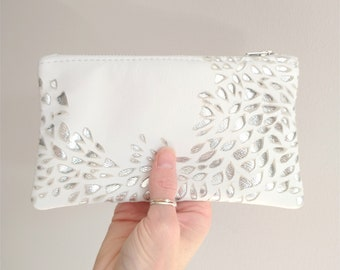White and Silver Leather Pouch, Organic River Inspired Design, Zip Fastening, Special Gift, Birthday, Lottie and Jake