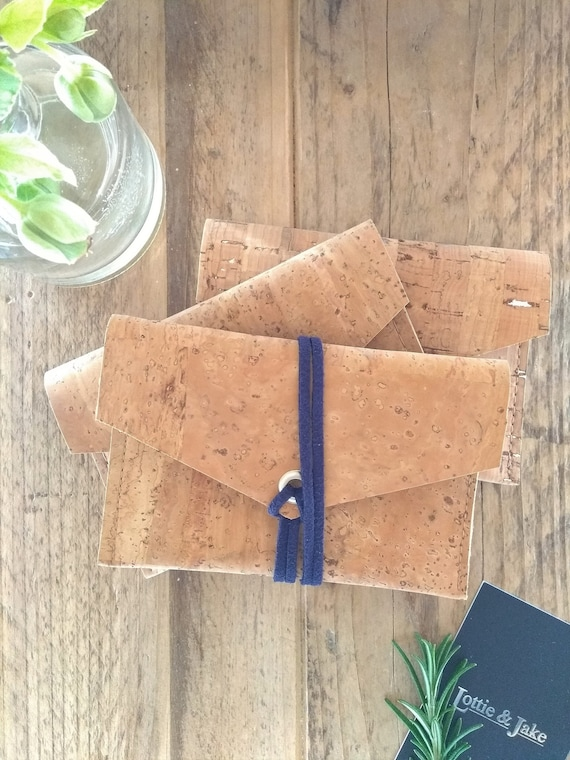 Natural Cork Leather Purse, Navy Faux Suede Tie, Mustard Faux Suede Tie or Silver Press Stud, Eco friendly, Sustainable, Gift, Birthday