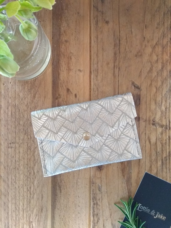 Silver Leather Purse, Sunburst Design, Press Stud Fastening, Two Pockets, Gift, Birthday